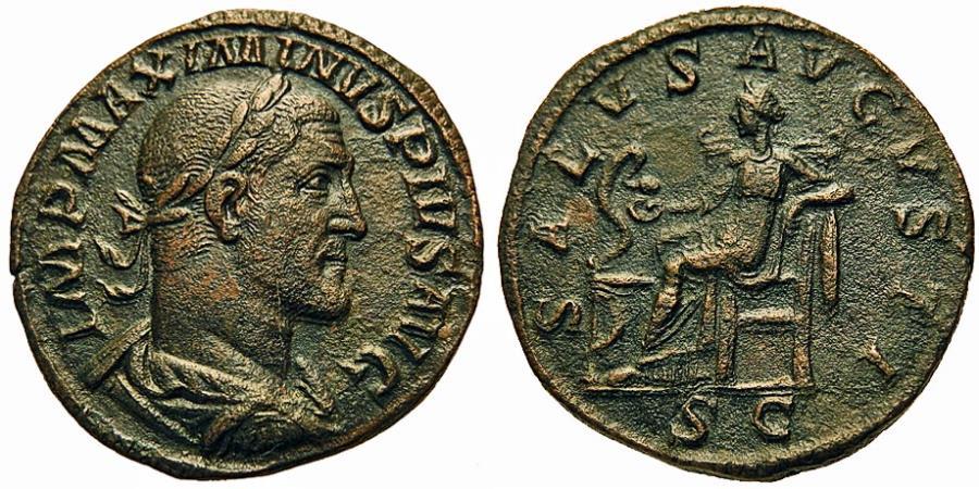 Ancient Coins - Maximinus I, 'Thrax.' Æ Sestertius. Salus.