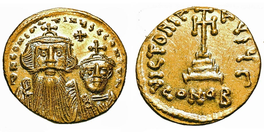 Ancient Coins - Constans II w/Constantine IV. Gold Solidus.