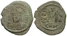 Ancient Coins - Byzantine Empire. Maurice Tiberius. Æ Follis. Constantinople Mint.