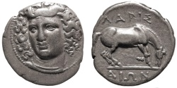 Ancient Coins - Thessaly, Larissa. Drachm. Nymph Larissa / Horse Preparing To Roll.