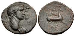 Ancient Coins - Ionia, Ephesus. Claudius, with Agrippina Junior. Æ 19 mm.