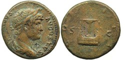Ancient Coins - Hadrian. As. Lyre. Scarce Orichalcum Issue For The East.