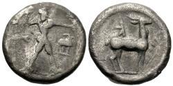 Ancient Coins - Bruttium, Kaulonia. AR Sixth Nomos. Apollo / Stag.