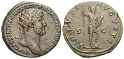 Ancient Coins - Hadrian. Æ Dupondius. Virtus.