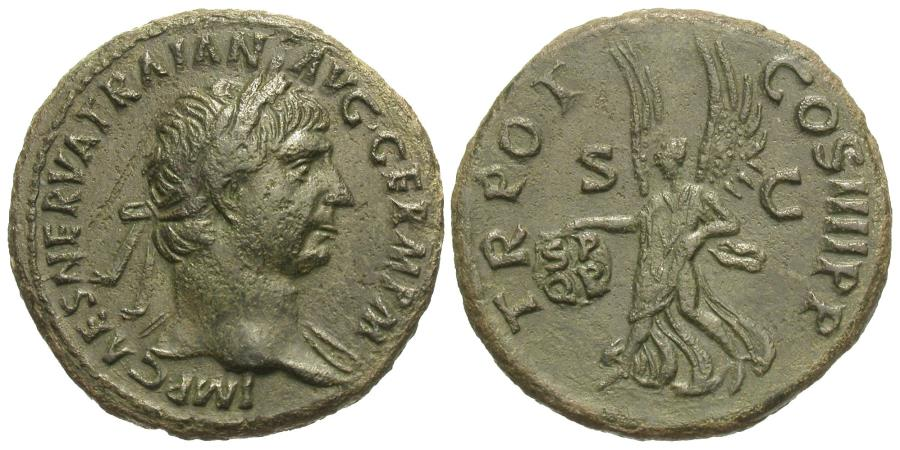Ancient Coins - Trajan. Æ As. Victory.