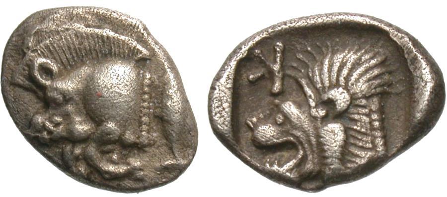Ancient Coins - Mysia, Kyzikos. AR Obol. Boar / Lion.