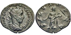 Ancient Coins - Volusian, as Augustus. Antoninianus. Salus Feeds Snake.