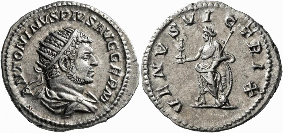Ancient Coins - Caracalla. AR Antoninianus. Venus. Sharp Details.