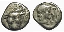 Ancient Coins - Phokis, Federal Coinage. AR Triobol. Bull's Head / Artemis.