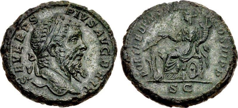 Ancient Coins - Roman Empire. Septimius Severus. Æ As. Fortuna.