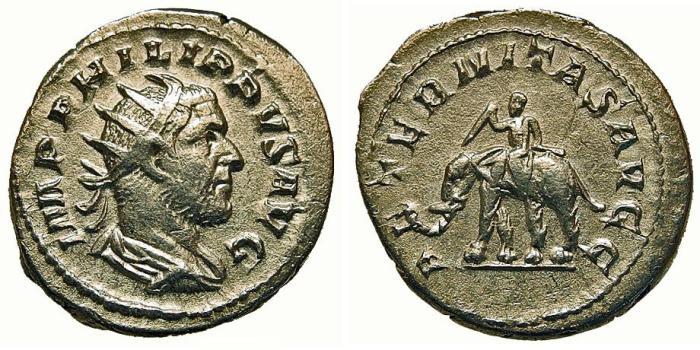 Ancient Coins - Philip I. Antoninianus. Elephant. Choice.
