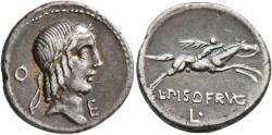 Ancient Coins - Roman Republic. L. Calpurnius Piso Frugi. AR Denarius.