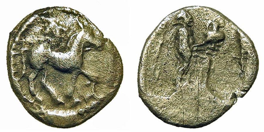 Ancient Coins - Thessaly, Larissa. Obol. Horse/Nymph w/Hydria.