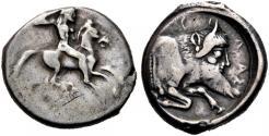 Ancient Coins - Sicily, Gela. AR Didrachm. Rider / Man-Headed Bull.