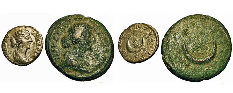 Ancient Coins - Faustina II - Wife Of Marcus Aurelius. Pair Of Astrological Coins.