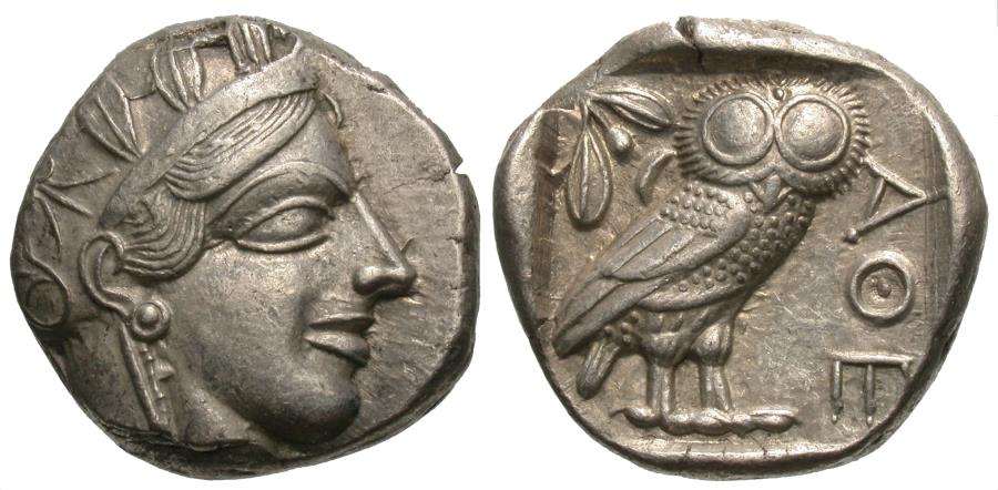 Ancient Coins - Attica, Athens. AR Tetadrachm. Athena / Owl.