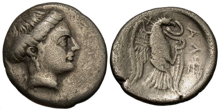 Ancient Coins - Euboia, Chalkis. AR Drachm. Nymph / Eagle.