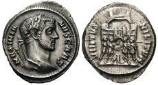 Ancient Coins - Galerius, as Caesar. AR Argenteus. Rome Mint. Four Tetrarchs Sacrificing.