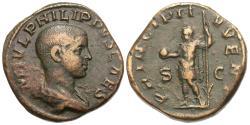 Ancient Coins - Philip II, as Caesar. Æ Sestertius.