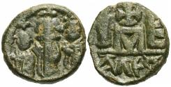 Ancient Coins - Byzantine Empire. Heraclius with Heraclius Constantine and Heraclonas. Æ Dodecanummium.