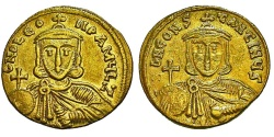 Ancient Coins - Byzantine Empire. Leo III w/ Constantine V. Gold Solidus.