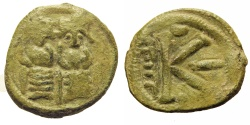 Ancient Coins - Nysa Scythopolis as Beisan (Beit-Shean). Umayyad Period, Arab Byzantine. Half-Follis. RARE.