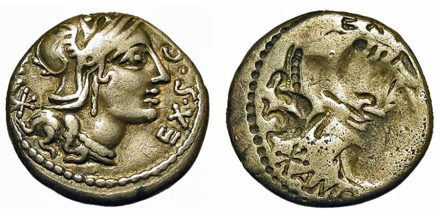 Ancient Coins - Roman Republic. M. Sergius Silus. Denarius. Brockage.