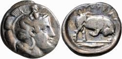 Ancient Coins - Lucania, Thourioi. AR Nomos. Athena / Bull Butting.