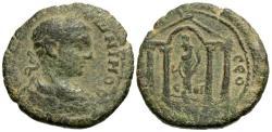 Ancient Coins - Judaea, Eleutheropolis. Elagabalus. Æ 24 mm. Tyche Within Tetrastyle Temple.