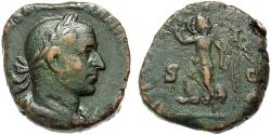 Ancient Coins - Aemilian. Æ Sestertius. Victory. RARE.