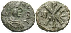 Ancient Coins - Byzantine Empire. Justin I. Æ Pentanummium. Nicomedia Mint.