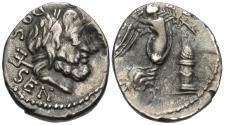 Ancient Coins - Roman Republic. L. Rubrius Dossenus. AR Quinarius.
