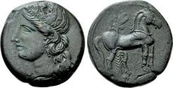 Ancient Coins - Carthage. Second Punic War. Æ Trishekel. Tanit / Horse.