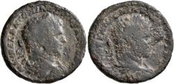 Ancient Coins - Caracalla. Æ 'Limes' Sestertius. Interesting Double Portrait!