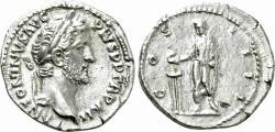 Ancient Coins - Antoninus Pius. AR Denarius. Emperor Sacrificing.