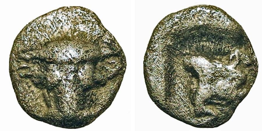 Ancient Coins - Phokis. Federal Coinage. Obol. Bucranium/Boar.