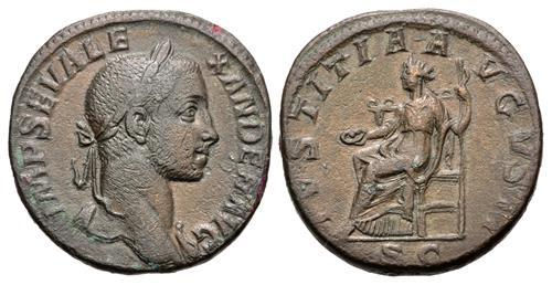 Ancient Coins - Severus Alexander. Æ Sestertius. Justitia.