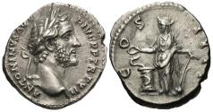 Ancient Coins - Antoninus Pius. AR Denarius. Salus Feeding Serpent.