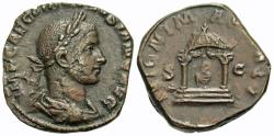 Ancient Coins - Volusian. Æ Sestertius. Temple Of Juno Martialis.