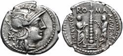 Ancient Coins - Roman Republic. Ti Minucius C.f. Augurinus. AR Denarius.