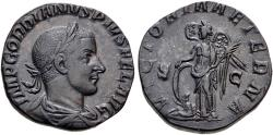 Ancient Coins - Gordian III. Æ Sestertius. Victory.
