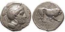 Ancient Coins - Lucania, Velia. Didrachm. Athena / Lion Prowling.
