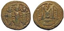 Ancient Coins - Nysa Scythopolis as Beisan (Beit-Shean). Umayyad Period, Arab Byzantine. Follis. EXTREMELY RARE.