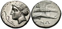 Ancient Coins - Paphlagonia, Sinope. AR Drachm. Nymph / Sea Eagle On Dolphin.