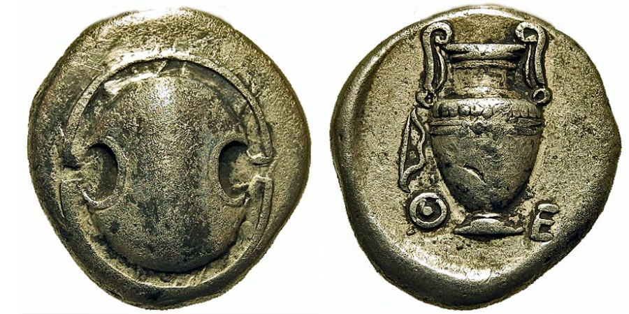 Ancient Coins - Boeotia, Thebes. Stater. Boeotian Shield/Amphora. Ex BCD Collection.