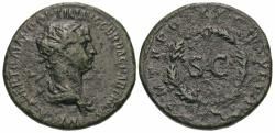 Ancient Coins - Trajan. Æ Semis.  S C Within Oak Wreath.