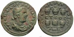 Ancient Coins - Cilicia, Anazarbus. Valerian I. Æ Hexassarion. Six Agonistic Urns.