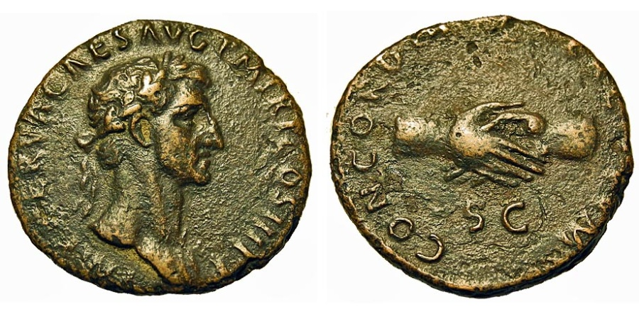 Ancient Coins - Nerva. Æ As. Two Clasped Hands.