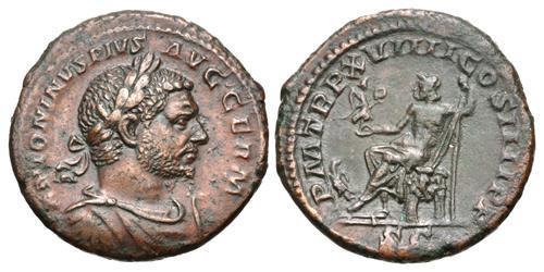 Ancient Coins - Caracalla. Æ As. Jupiter. Wonderful Portrait.