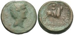 Ancient Coins - Macedon, Amphipolis. Tiberius. Æ 22 mm. Artemis Riding Bull.